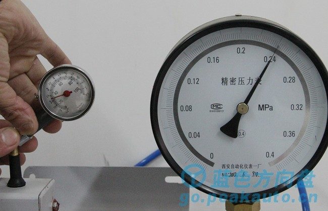 蓝色方向盘-压力表测试