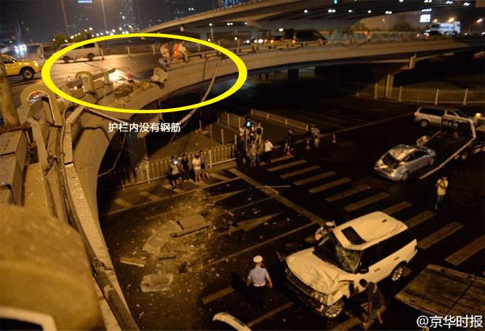没有钢筋的高架路护栏该加固了–有感于路虎飞车坠落